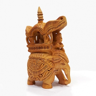 Wood Carving Trunk down Ambabari 5 inch