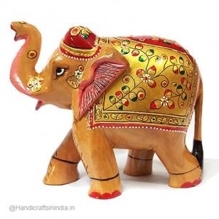 Wooden Painted Elephant 15 cm