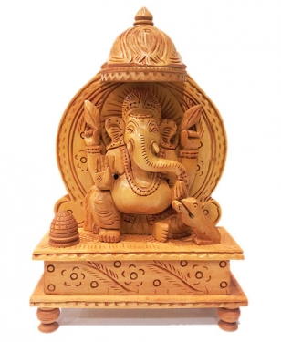 Handmade Wooden Carved Ganesha