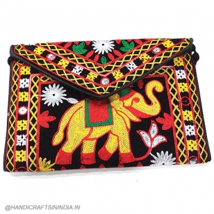 Embroidery Elephant Design Sling Bag