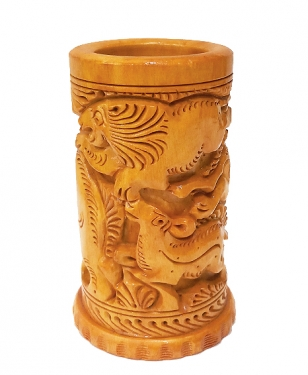 Wooden Round Carved Pen Holder