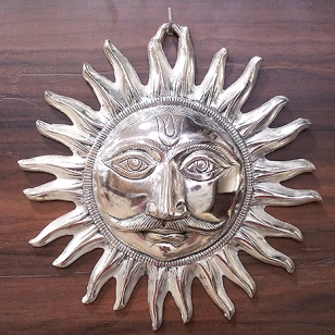 White Metal Sun Wall Hanging 25cm