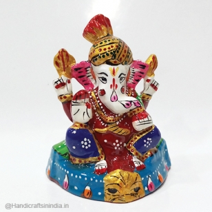 Metal Ganesh Statue Painted