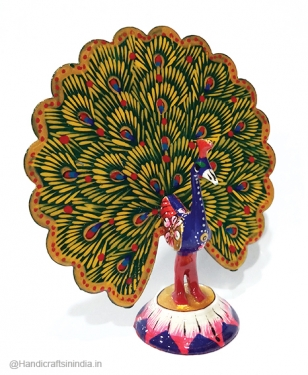 "Metal Painted Dancing Peacock 5"" inch"