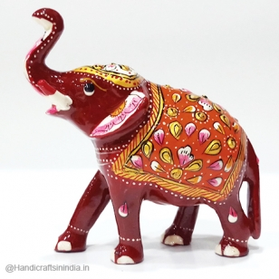 Metal Meenakari Elephant (Red)