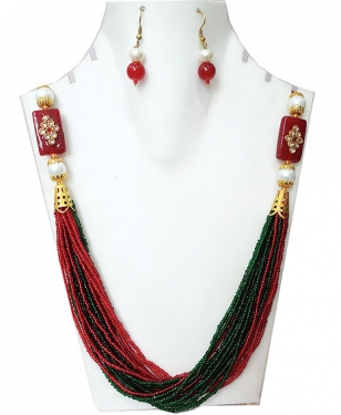 Red & Green Moti Mala Necklace Set