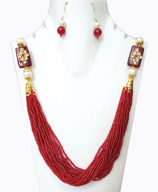 Red Moti Necklace Set