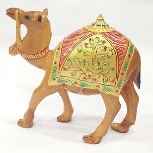 Wooden Embossed Painted Camel 15cm