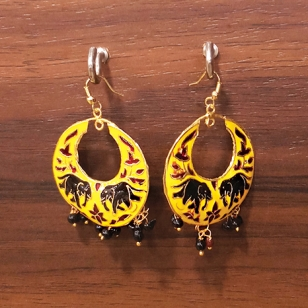 Meenakari Earring Yellow