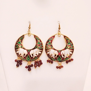 Meenakari Elephant Design Earrings