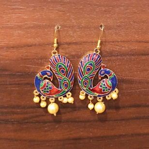 Peacock Design Meenakari Earrings