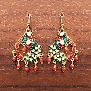 Green Meenakari Peacock Earrings