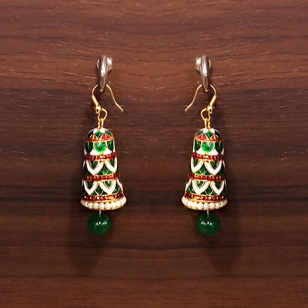 Golden Meena Jhumka Earring