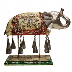 Vintage Wooden Elephant Painted with Bell