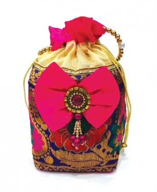 Colorful Silky Potli Bag