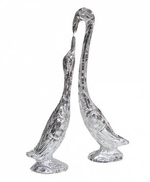 White Metal Swan Pair