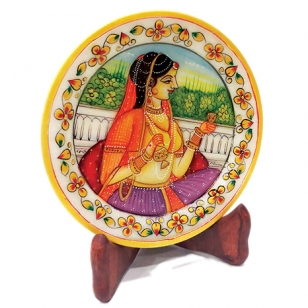 Marble Bani Thani Plate 6 Inch Diameter