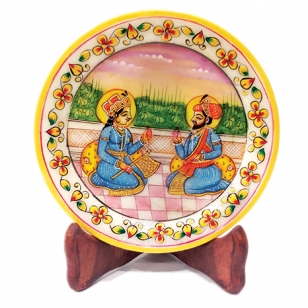 Marble Mughal Painting 6 inch Diameter
