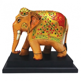 Indian Painted Wooden Elephant with Base