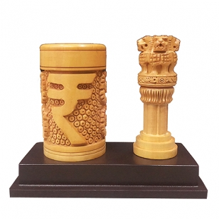Wooden Pen holder with Ashoka pillar