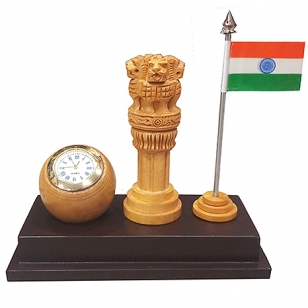 Wooden 4 inch Ashoka pillar with Clock & Flag