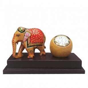 Wooden Clock with Elephant Statue