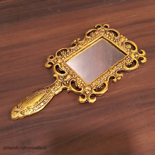 Golden Metal Handle Mirror