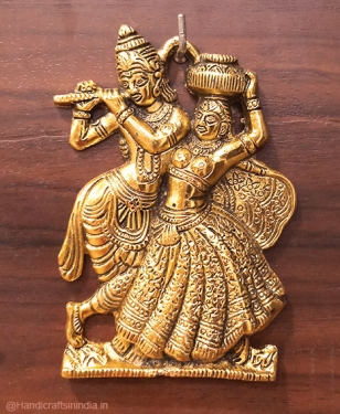 Metal Hanging Radha Krishana (Golden)