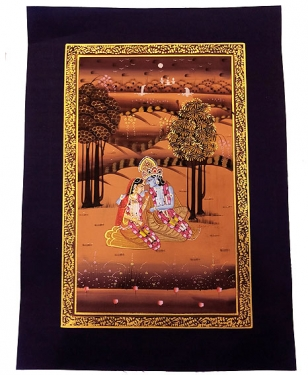 Silk Painting of Radha & Krishna Unframed