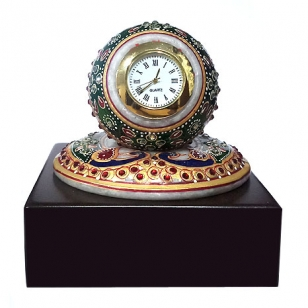 Marble Clock on Wooden Base
