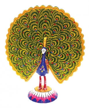 Enamel Painted Dancing Peacock 7 inch