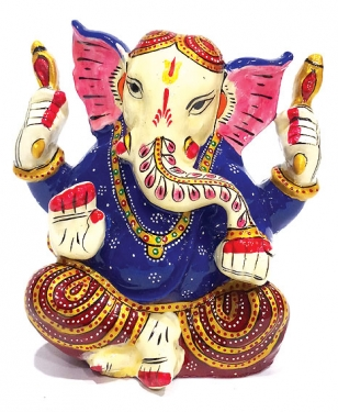 Metal Enamel Painted Ganesh
