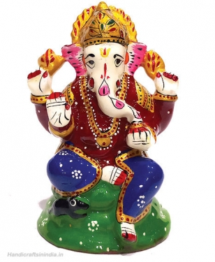 Metal Painted Ganesh Idol