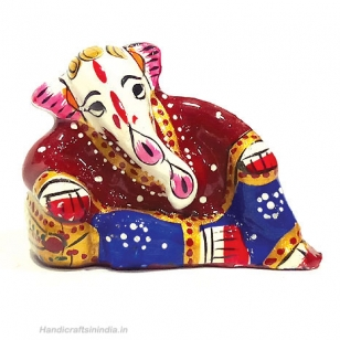Metal Painted Resting Ganesh Small