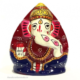 "Metal Coconut Ganesh Painted 2.5"" Inch"