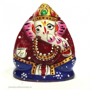Metal Painted Coconut Ganesh 2 inch
