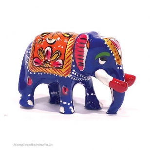 Metal Painted Trunk down Elephant - Pack of 2pc