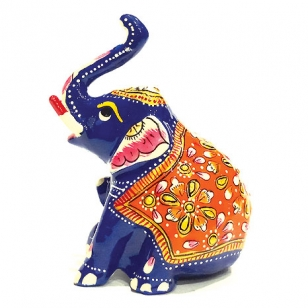 Metal Appu Elephant Painted 4 inch Height