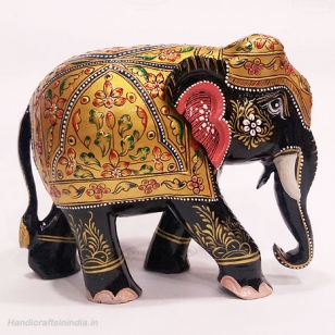 Wooden Embossed Painted Elephant (Black) 6 Inch