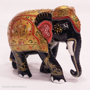 Wooden Embossed Painted Elephant (Black) - 13cm Height