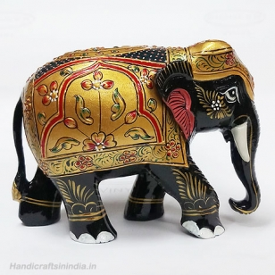 Wooden Embossed Painted Elephant (Black) 4 Inch