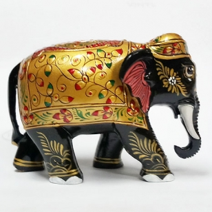 Wooden Embossed Painted Elephant (Black) 3 Inch