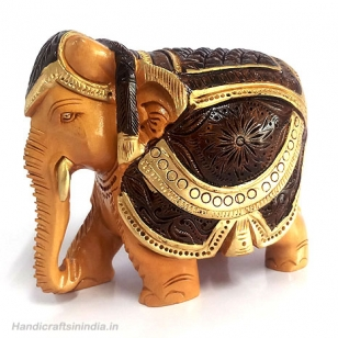 Wooden Brown & Gold Painted Elephant