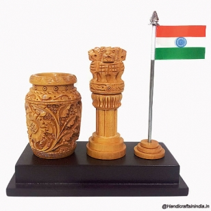 Pen holder with Ashoka pillar & National Flag