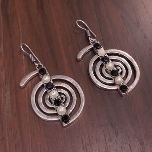 White Metal Spiral Earrings – 2755