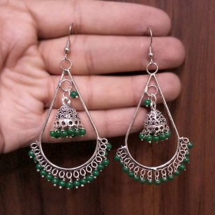 Jhumki Earrings with Green Beads