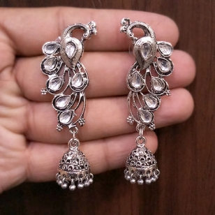 Peacock Earrings with White Stones