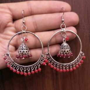Stylish Jhumka with Red Stones