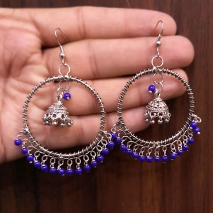 Stylish Jhumka with blue Stones