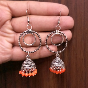 Beautiful Round Jhumki Earrings – Orange